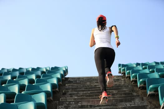 running up stairs outside