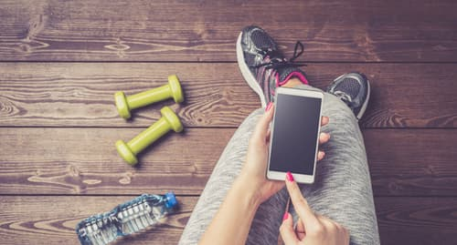 phone with fitness equipment