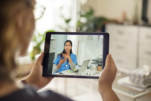 video call from tablet with doctor