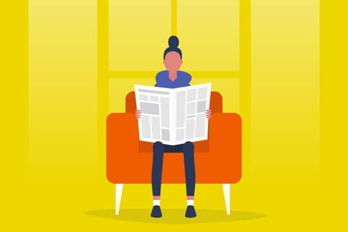 reading newspaper illustration
