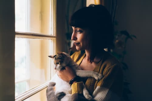 woman with a cat looks out window