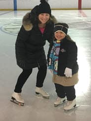 Mia D'Angelo and mom on ice
