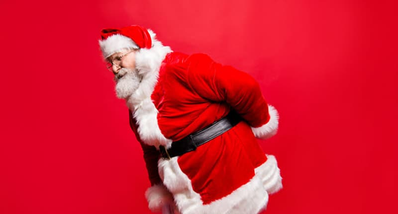 Santa with back pain