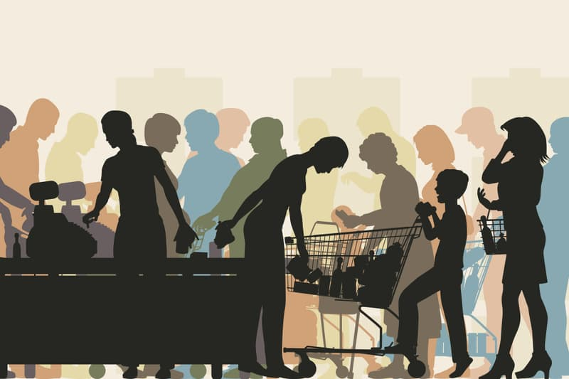 supermarket line illustration
