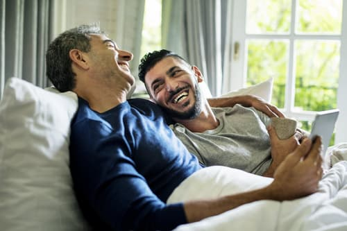 happy male couple