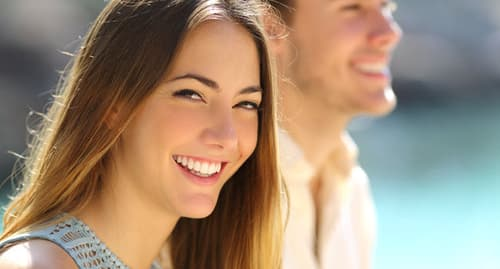 woman and man smiling