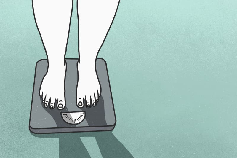 illustration of woman on weight scale
