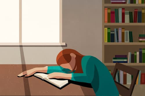 photo of college student sleeping in library illus
