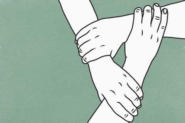 hands holding each other for support