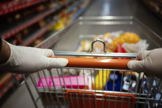 gloves grocery cart