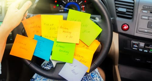 steering wheel with sticky notes