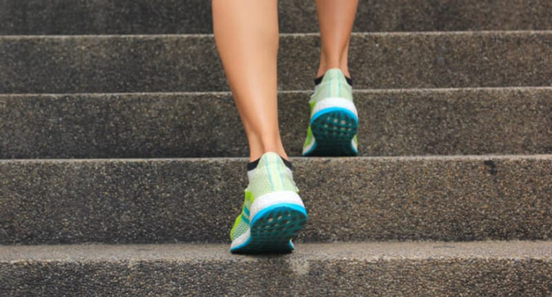 woman running on stairs