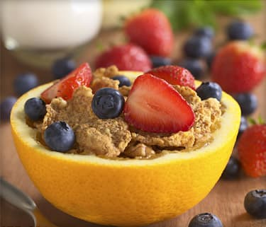 whole wheat cereal with fresh fruits