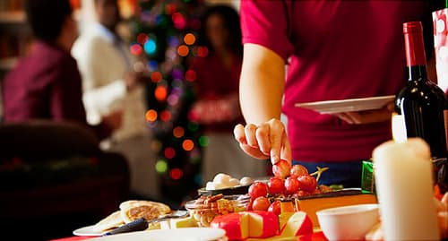 woman selecting holiday foods