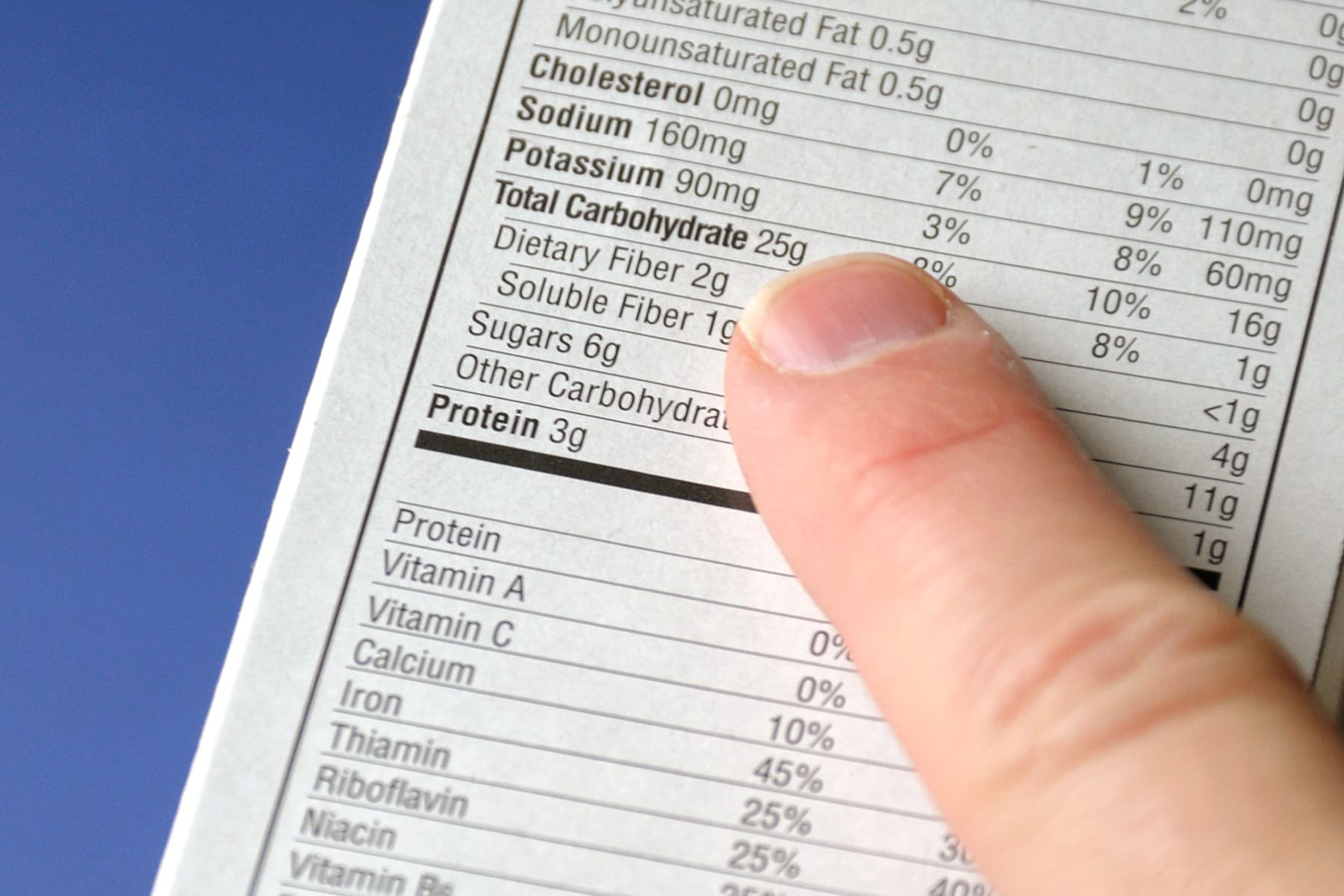 person reading nutrition label