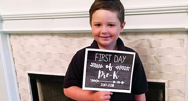 Liam, this year, ready for the first day of school.