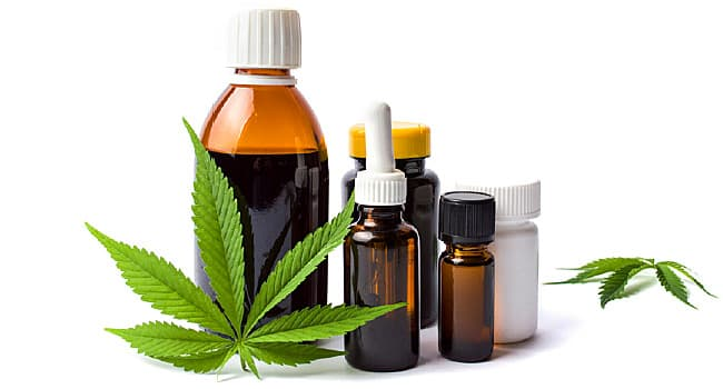 marijuana and cannabis oil bottles