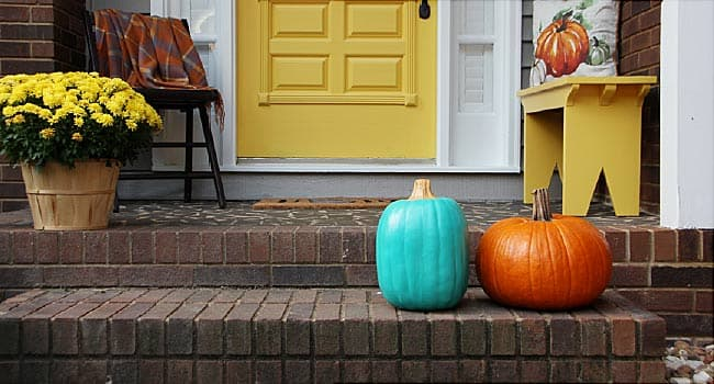 teal pumpkin on stairs