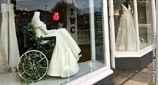 photo of wedding dress in wheelchair