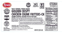photo of tyson chicken fritter label