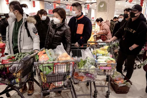 photo of chinese shoppers wearing masks