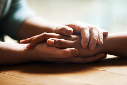photo of hands of support