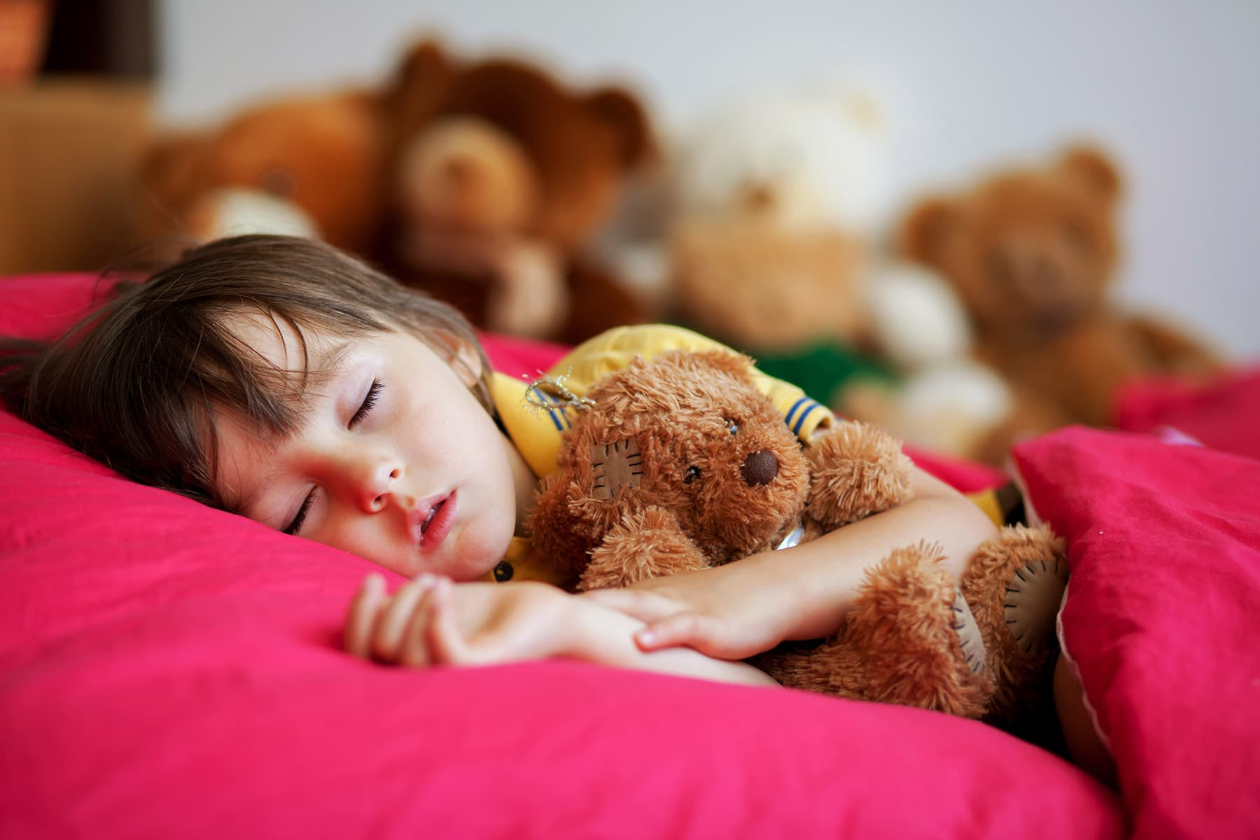 photo of boy sleeping with teddy bear other