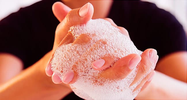 close up hand washing