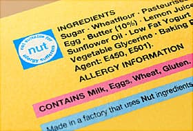 allergy info on food label
