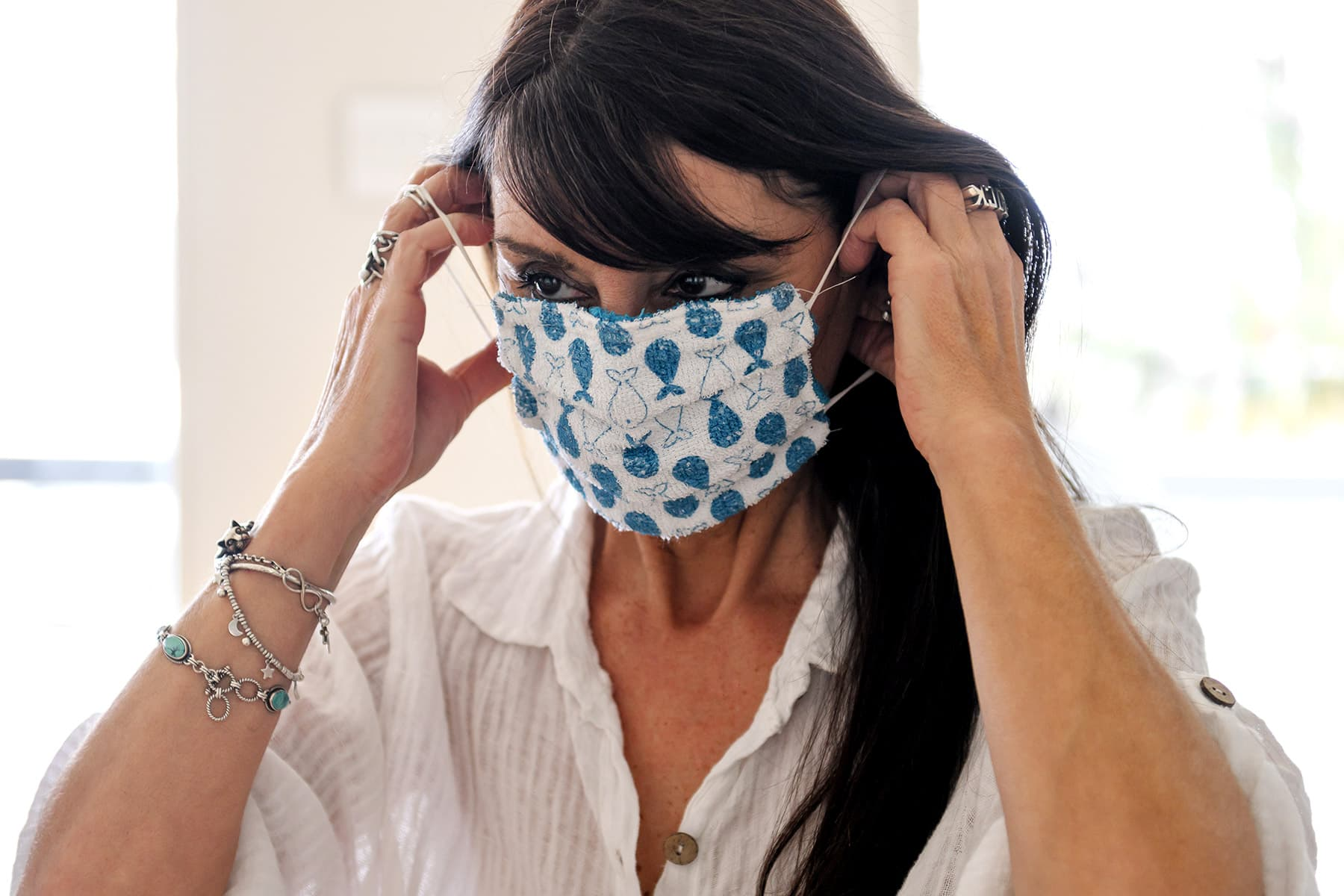 photo of woman wearing homemade mask