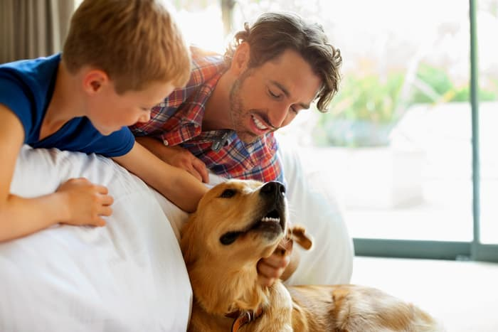 dad and son petting dog