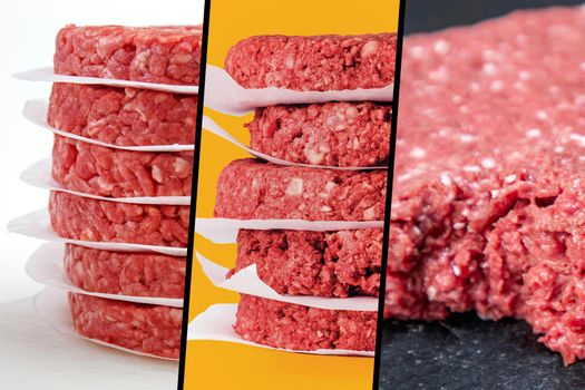 meat and veggie burger triptych