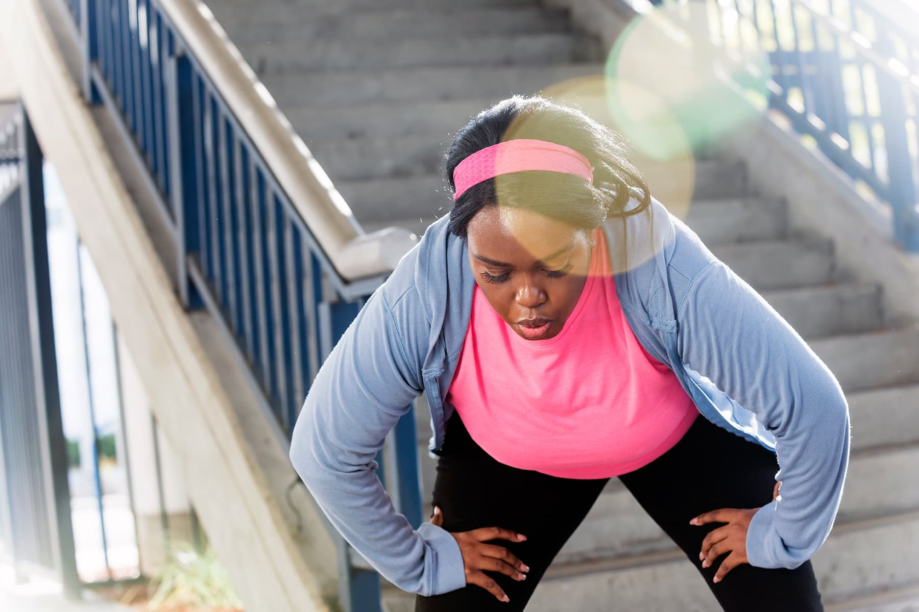 overweight woman panting