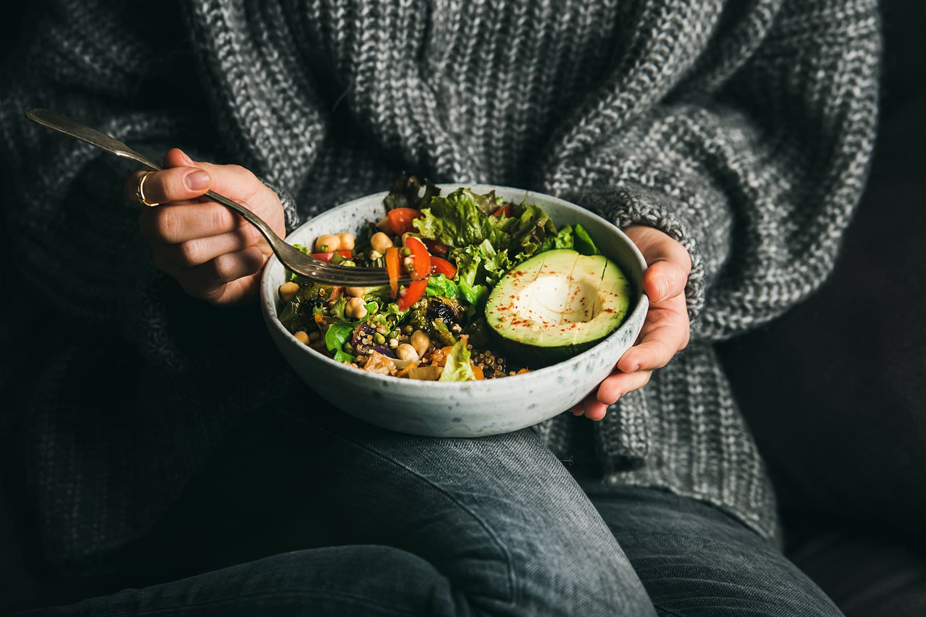 photo of person eating healthy meal