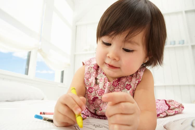 photo of toddler coloring