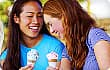 Teen girls eating ice cream