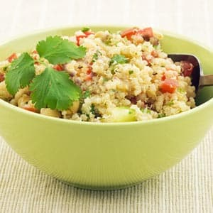 Basil Quinoa with Red Bell Pepper