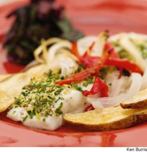 Halibut Roasted With Red Bell Peppers, Onions, & Russet Potatoes