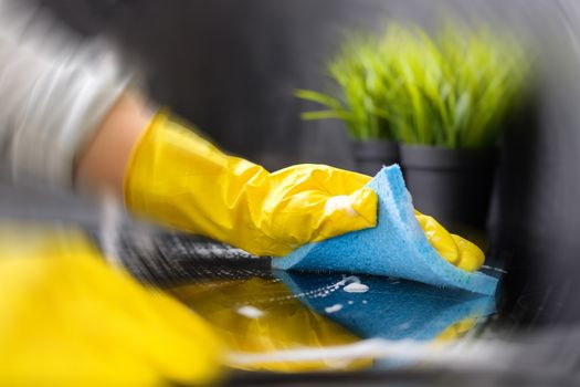 photo of cleaning counter with blur effect