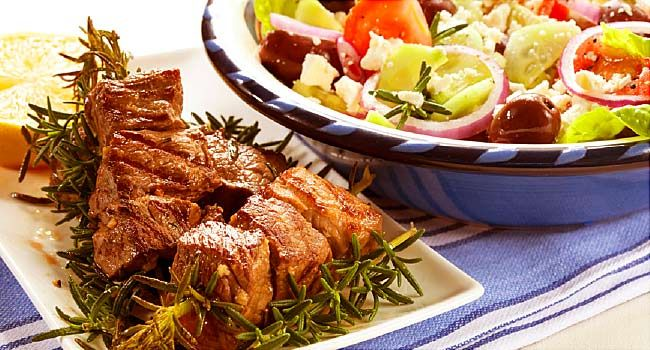 lamb kebabs and greek salad