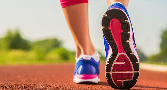 running shoes on track