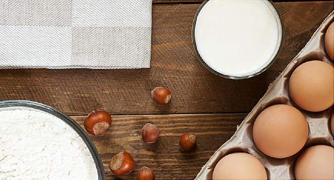 flour, nuts, eggs and milk