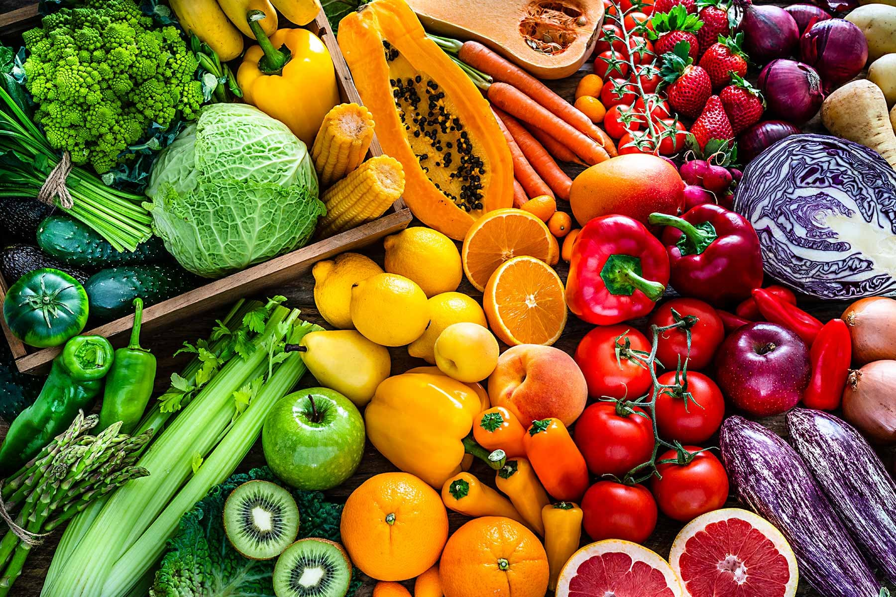 photo of colorful vegetables and fruits