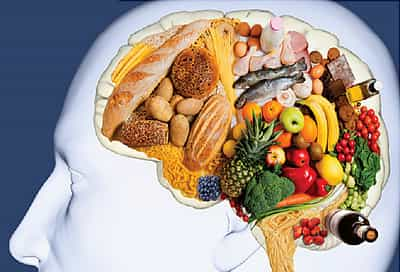 composite image of healthy foods in shape of brain