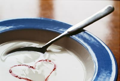 bowl of yogurt with heart shape