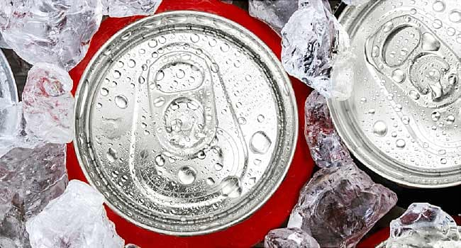 soda cans on crushed ice