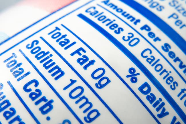 photo of nutrition label