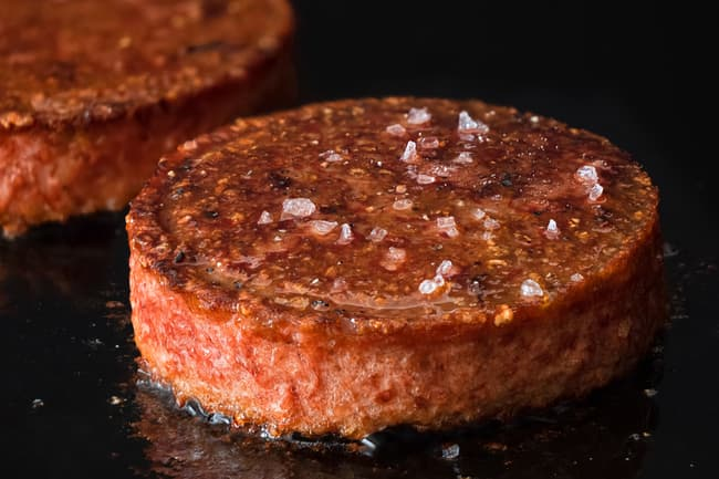 photo of burger with salt on it