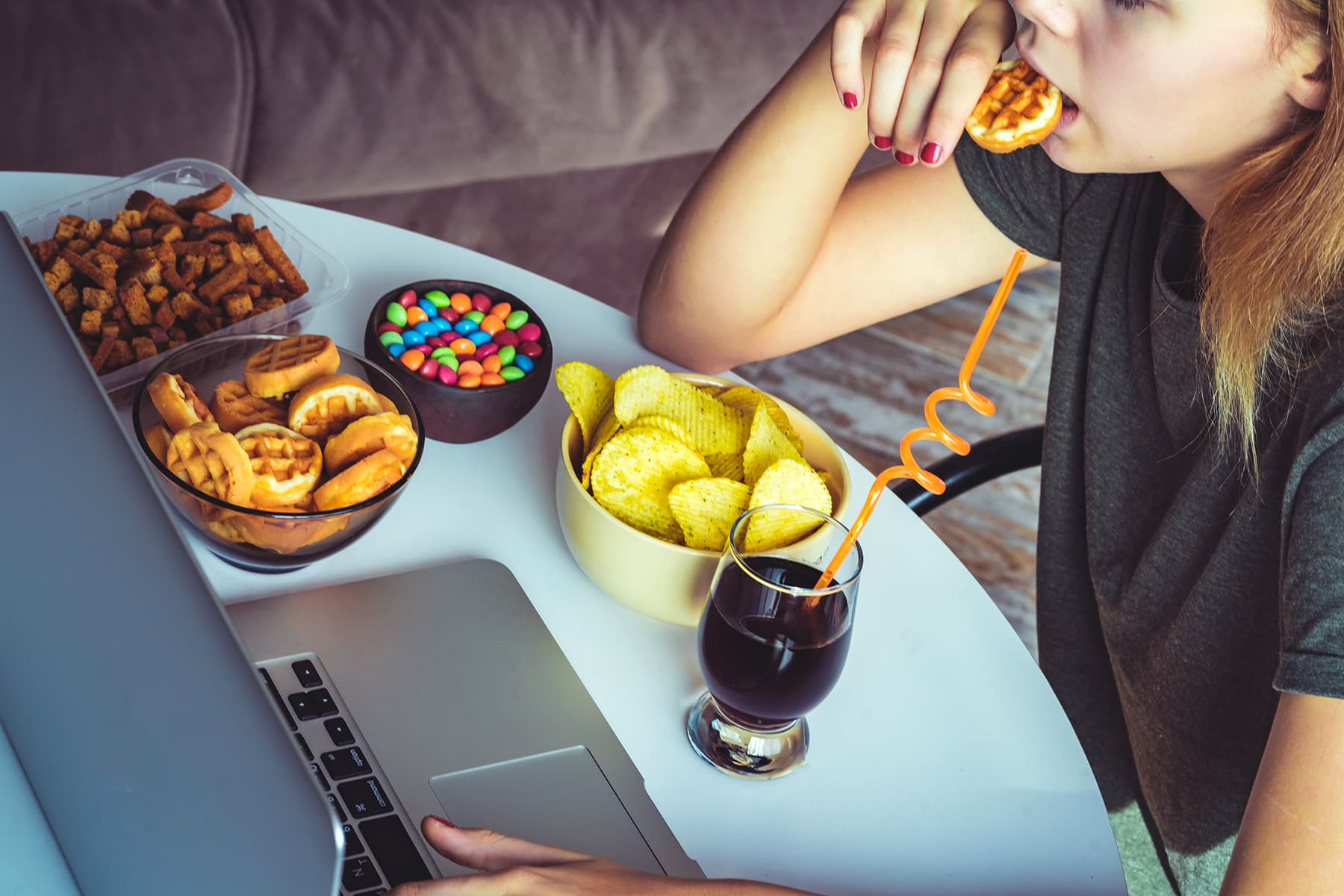 photo of woman stress eating
