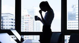 silhouette of stressed woman